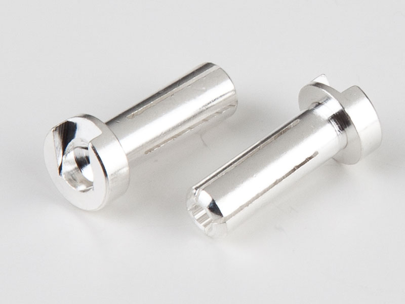 TQ Racing 4mm/18mm Low Profile Male Bullet - 2 pcs SILVER