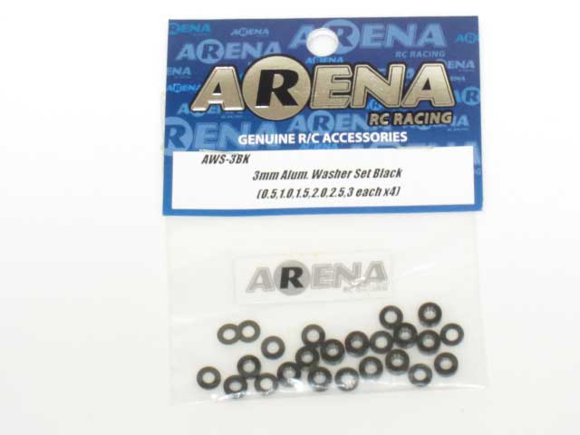 3mm Aluminium Washer Set Black