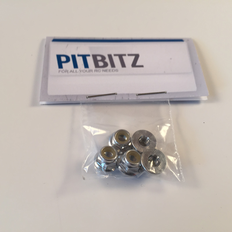 Pit Bitz M4 Alloy Nyloc Wheel Nuts Silver