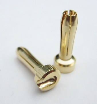 TQ Racing 4mm HD 6 Point Male Bullet - 2 pcs GOLD