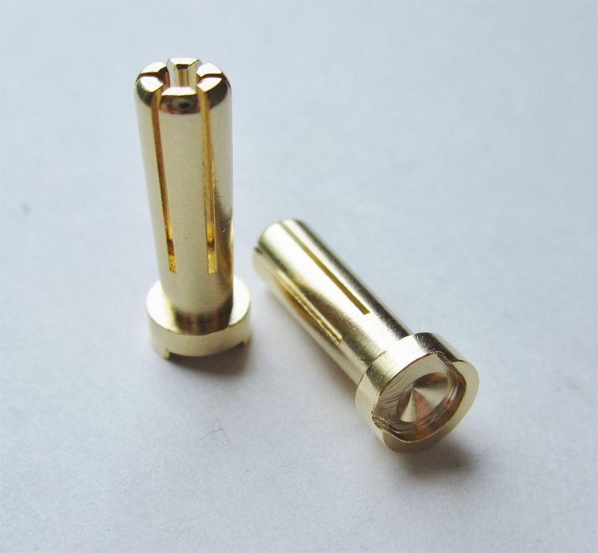 TQ Racing 5mm Low Profile 6 Point Male Bullet - 2 pcs GOLD