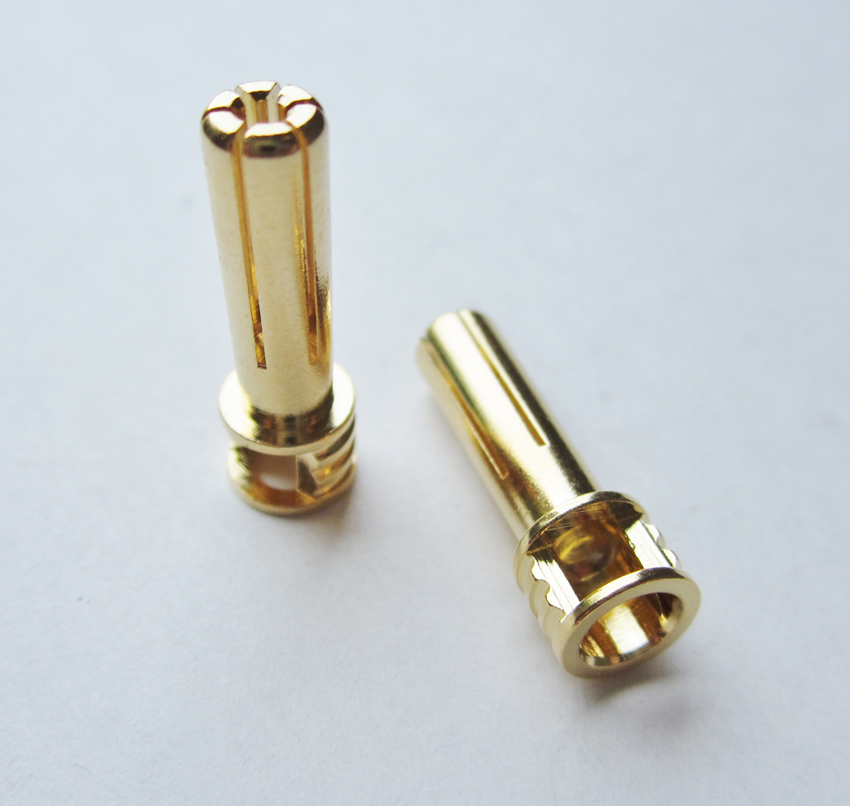 TQ Racing 5mm Flat Top 6 Point Male Bullet - 2 pcs GOLD