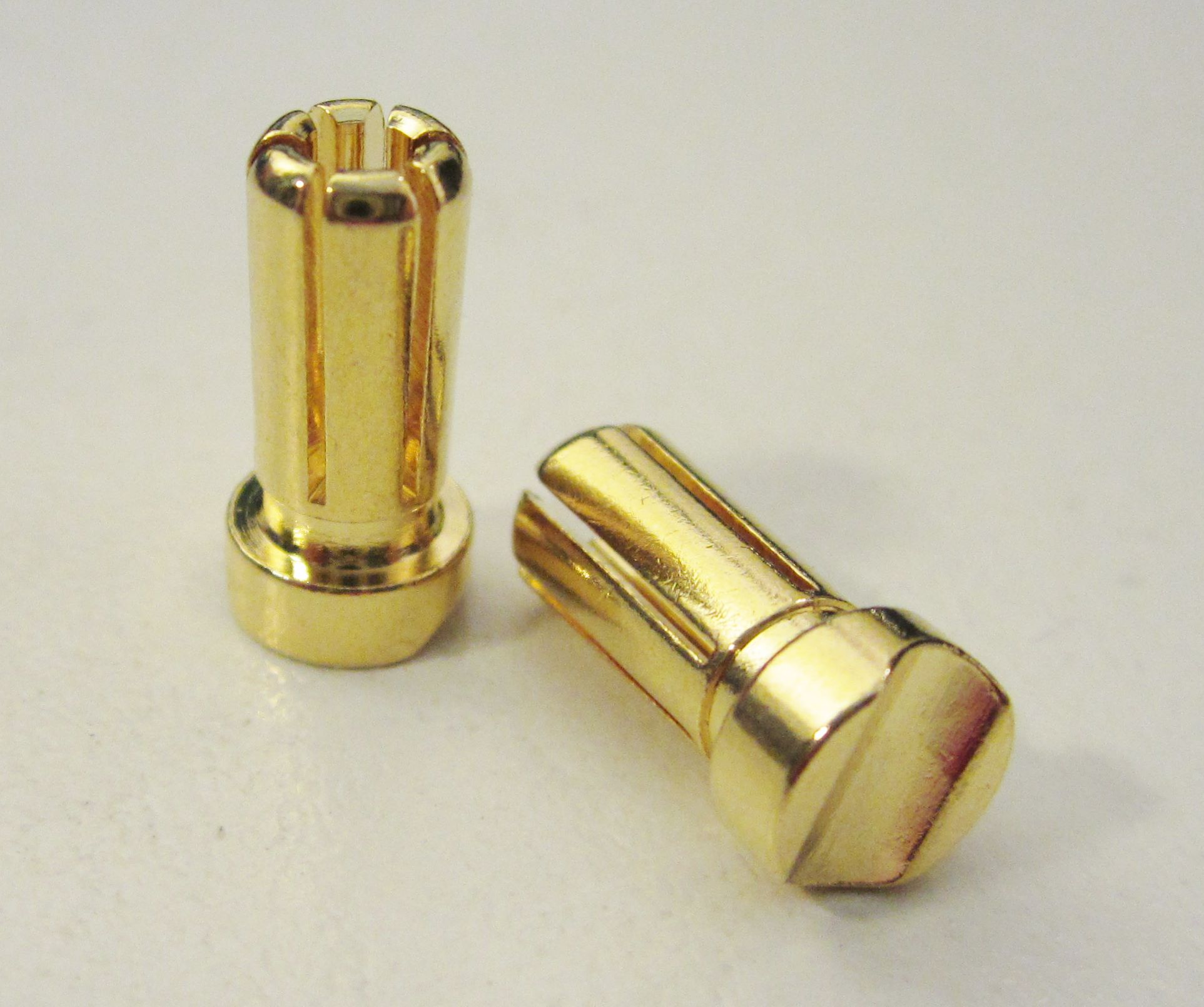 TQ Racing 5mm Low Profile Short 6 Point Male Bullet - 2 pcs GOLD