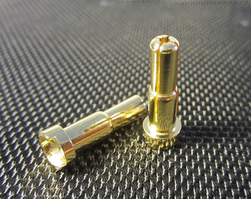 TQ Racing 4mm-5mm Bullet with Low Profile Top - 2pcs Gold